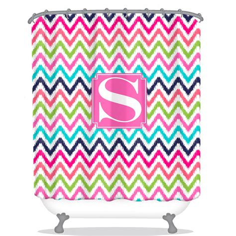 Personalised Shower Curtain by Chevron Ikat Personalized Shower Curtain Monogrammed