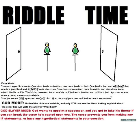 riddle time you re trapped in a room one door leads to