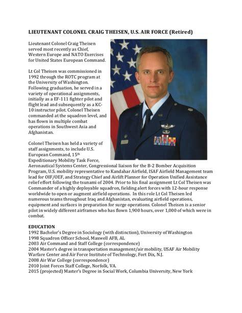 military biography format theisen military bio
