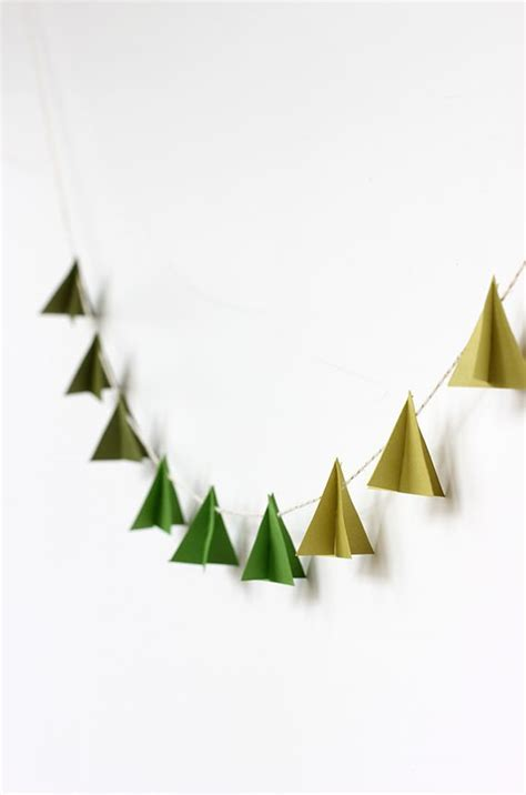 diy modern paper tree garland tutorial christmas 2015