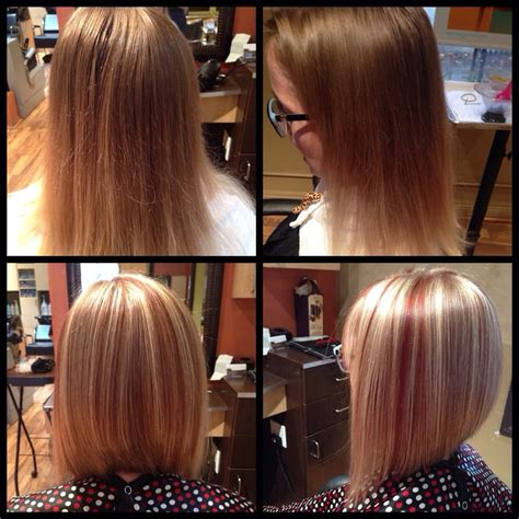 chocolate hair color with highlights for angled bobs took this girl from her natural to a blonde with cooper