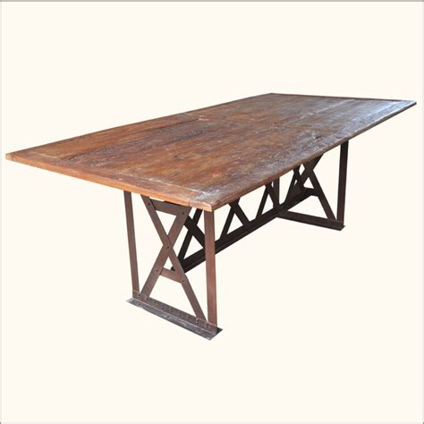 Wrought Iron Dining Tables Rustic Industrial Teak Wood Wrought Iron Large 78 Quot Dining Room Table Furniture Ebay