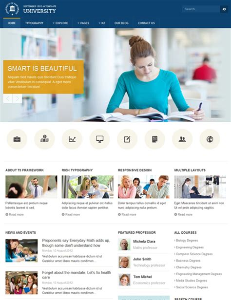 templates for website of college ja university responsive joomla template for education