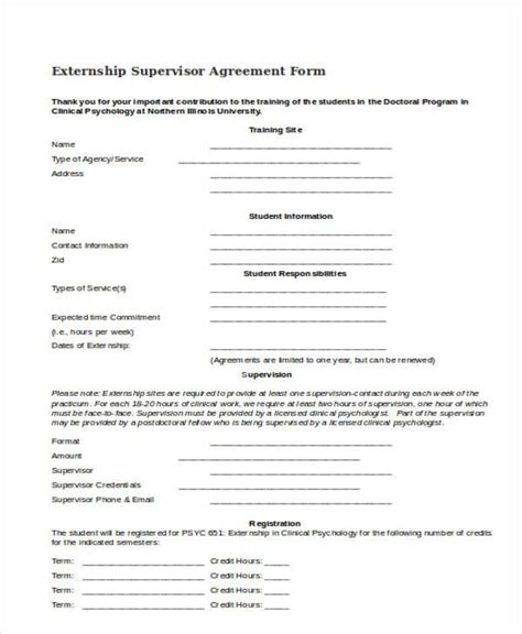 supervision agreement template sle clinical supervision form pictures to pin on