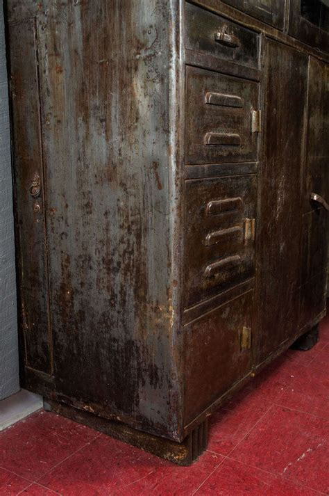 vintage metal storage cabinet vintage industrial metal storage cabinet at 1stdibs