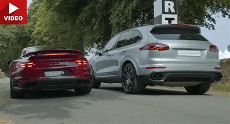 Porsche 911 Cayenne S by Porsche Cayenne Turbo S Races 911 Turbo S On Goodwood