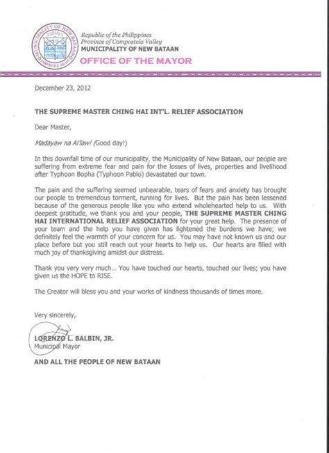 thank you letter to master conveying god s to the typhoon affected in the