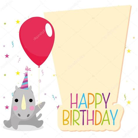 kawaii birthday card template happy birthday card template editable stock vector