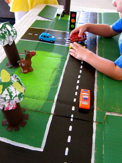 cardboard box racetrack by icing crumbs bonbon break