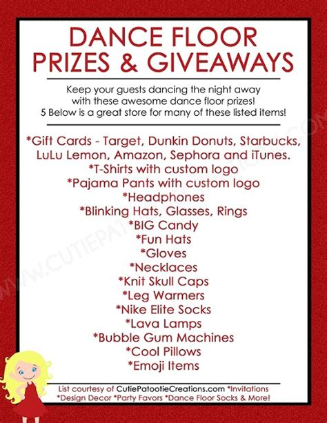 Prizes And Giveaways - free printable list of top dance floor prizes and giveaways for bar and bat mitzvahs