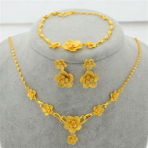 Aliexpress.com : Buy New Trendy 22K Gold Plated Jewelry Set Flower Pendant Necklace/Earrings
