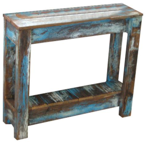 distressed end table breck distressed side table blue rustic side tables