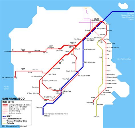 san francisco muni map urbanrail net gt america gt usa gt california gt san francisco muni metro