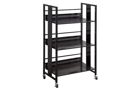 contemporary black metal bookcase 800508