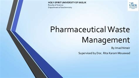 Executive Mba In Pharmaceutical Management by Pharmaceutical Waste Management