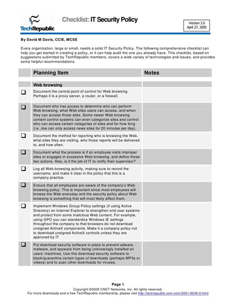 security audit checklist template security policy checklist