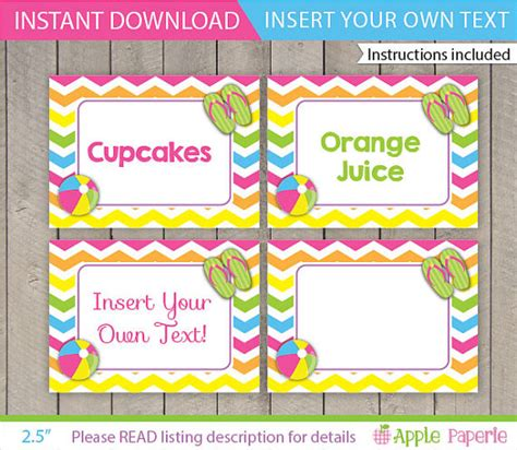 beach labels for party snacks summer beach party pool pool table tents pool party food labels kids pool party
