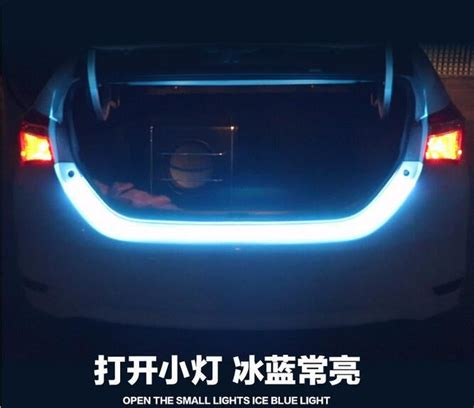 Blue Led Streamer Trunk Light Led Alir Bagasi Mobil Elegan 1200mm 2018 120cm 335 led car styling dynamic streamer turn signal trunk lights led warning light