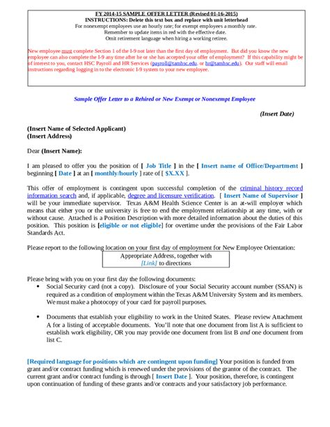 Offer Letter To New Employee 2018 offer letter format fillable printable pdf forms
