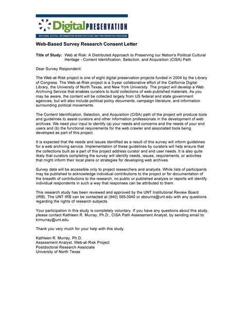 Web Based Survey Tools - web based survey research consent letter page 1 digital library