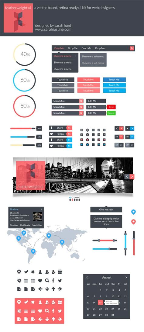 web layout ui kit 10 super useful free flat ui kits web design ledger