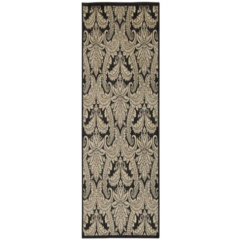 overstock runner rugs nourison overstock aristo black beige 2 ft 2 in x 7 ft 6 in rug runner 240767 the home depot