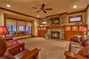 Kitchen Cabinets Craftsman Style by Craftsman Living Room With Stone Fireplace Amp Ceiling Fan