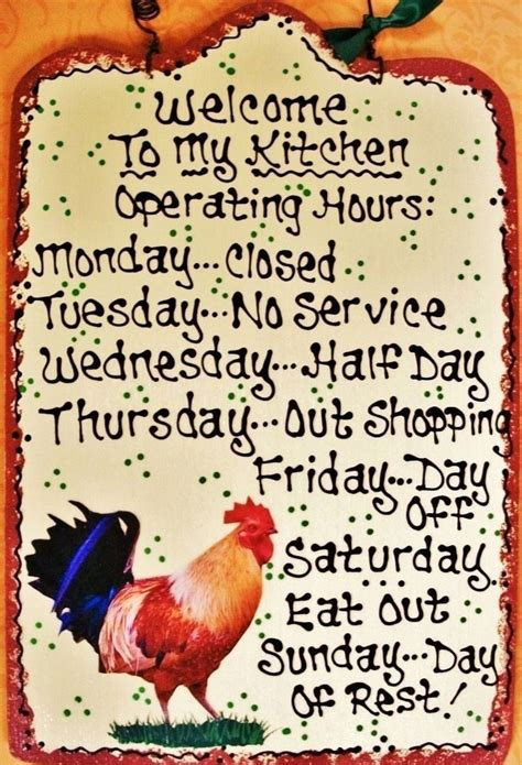 Country Kitchen Hours by Almond 7x11 Rooster Kitchen Operating Hours Sign Plaque