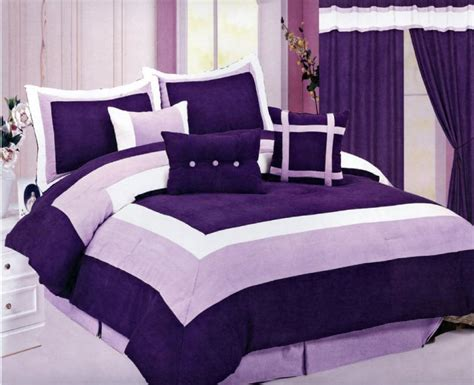 new micro suede bedding comforter set king purple white ebay