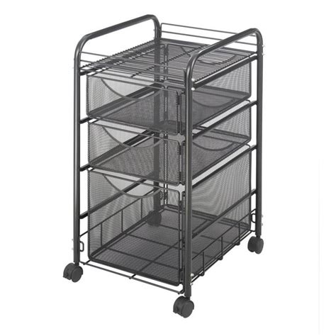 6 drawer mesh rolling cart mesh file cart with 1 file drawer and 2 small drawers 5213bl