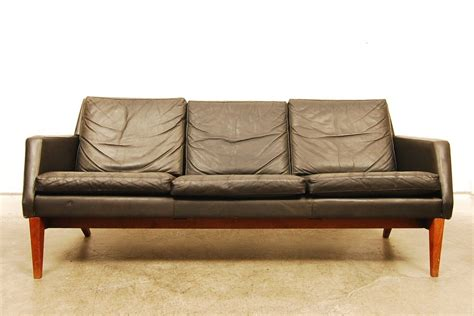 sorensen leather sofa three seat black leather sofa denmark 1960s chase