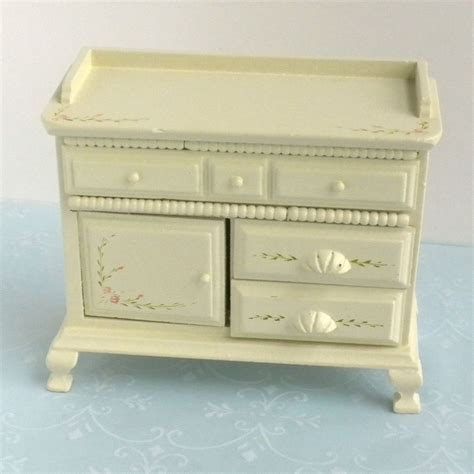 miniature dollhouse bedroom furniture green dresser w hand painted roses bedroom furniture