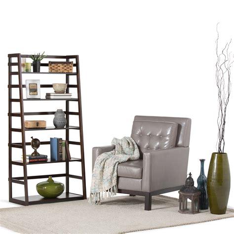 simpli home acadian ladder shelf bookcase rich tobacco brown amazon com simpli home acadian solid wood ladder shelf
