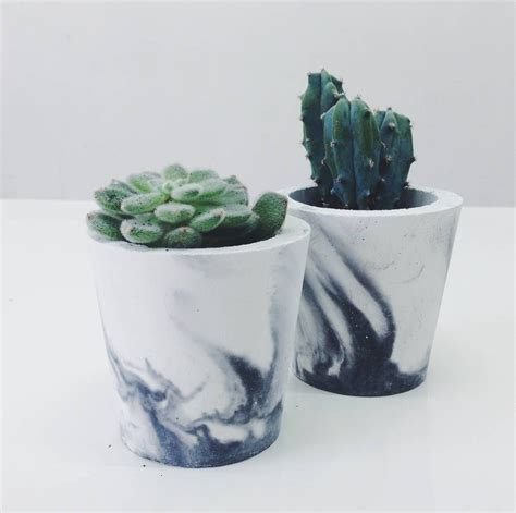 white black or white grey marbled cement pot marble
