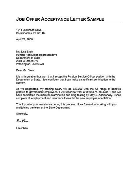 Offer Letter Format For Employee 40 professional offer acceptance letter email