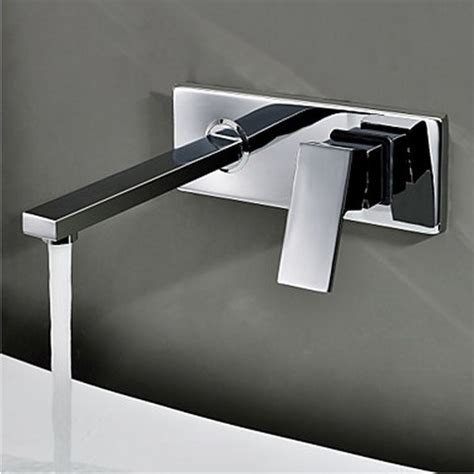 Contemporary Wall Mount Bathroom Sink Tap (Chrome Finish