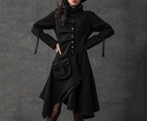 womens black swing coat swing coat pixie coat womens jackets black coat black