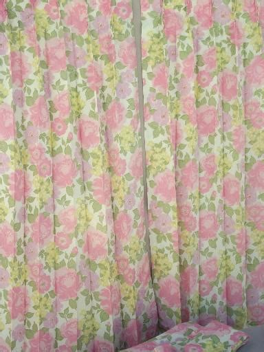 70s curtains retro flowers curtain panels 60s 70s vintage taffeta