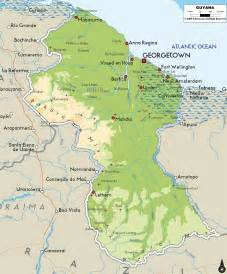 map of guyana south america large detailed physical map of guyana with cities and