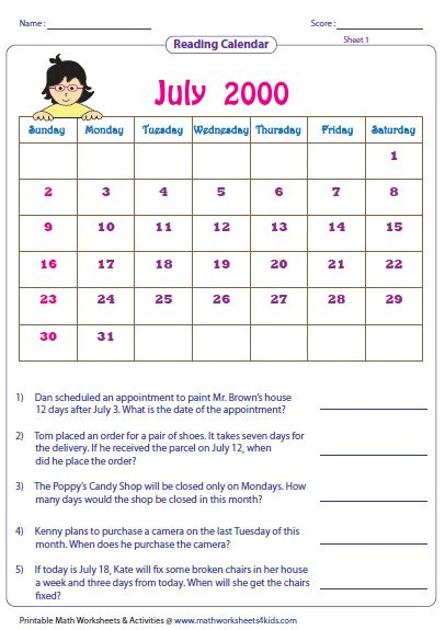 printable kindergarten calendar worksheets reading calendar worksheets with word problems