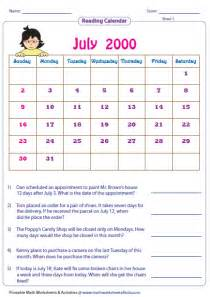 Calendar Questions Worksheets Reading Calendar Worksheets With Word Problems