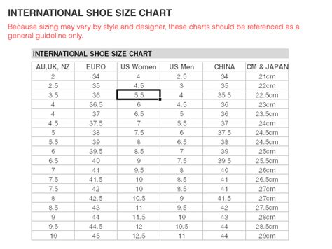 european shoe size chart womens