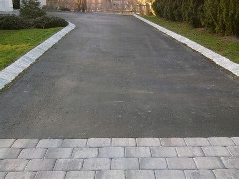 Paver Patio Edging Options Driveway Paving And Pavers Dressing Up An Asphalt Driveway All About The House House