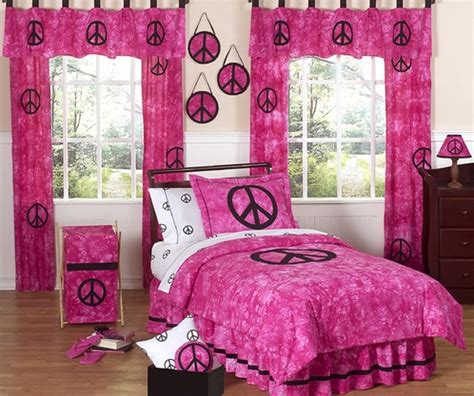 peace sign bedroom tie dye pink groovy peace sign bedding for children 4 pc set only 53 60