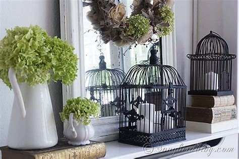 how to decorate a birdcage home decor romantic fall mantel decoration songbird