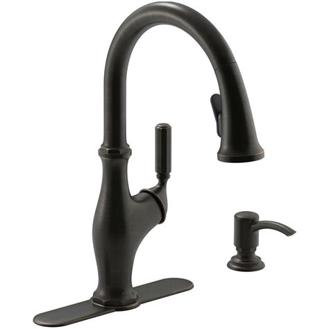 rubbed bronze pull kitchen faucet kohler worth single handle pull sprayer kitchen faucet in rubbed bronze k r11921 sd 2bz