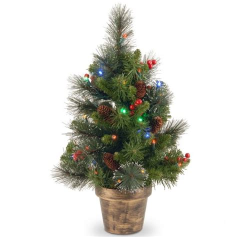 target small christmas trees 2ft crestwood spruce tree with battery operated multicolor led lights national tree company
