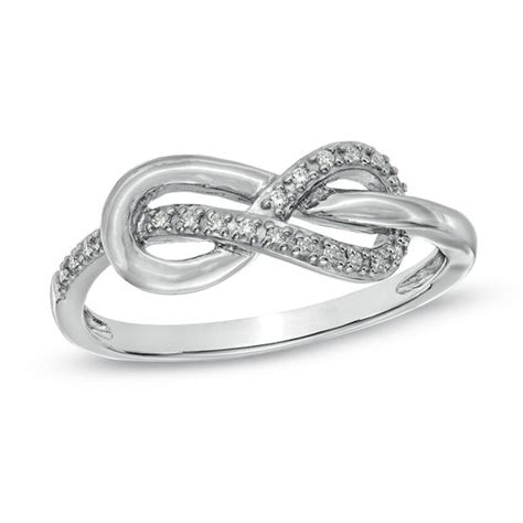 accent infinity knot ring in sterling silver