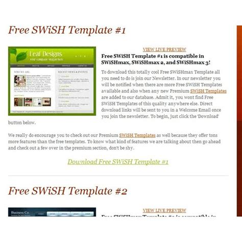 swishmax templates free swish templates great resources for web designers