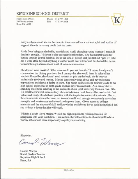 Recommendation Letter Penn State College Marina S Senior Project